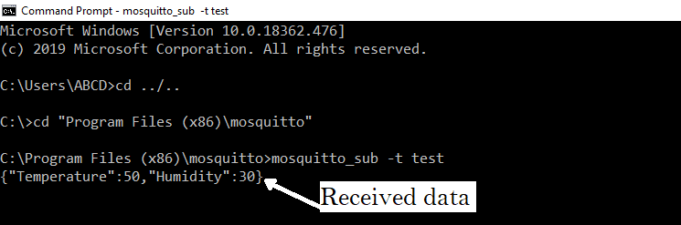 Windows command prompt as mqtt Subscriber