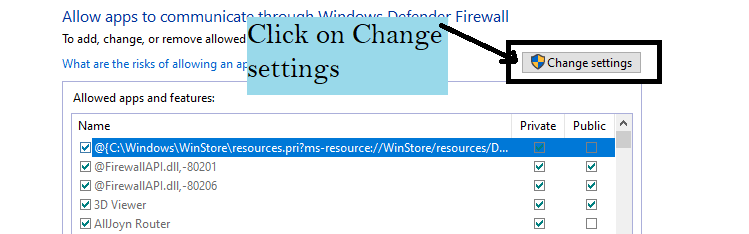 Click on Change settings