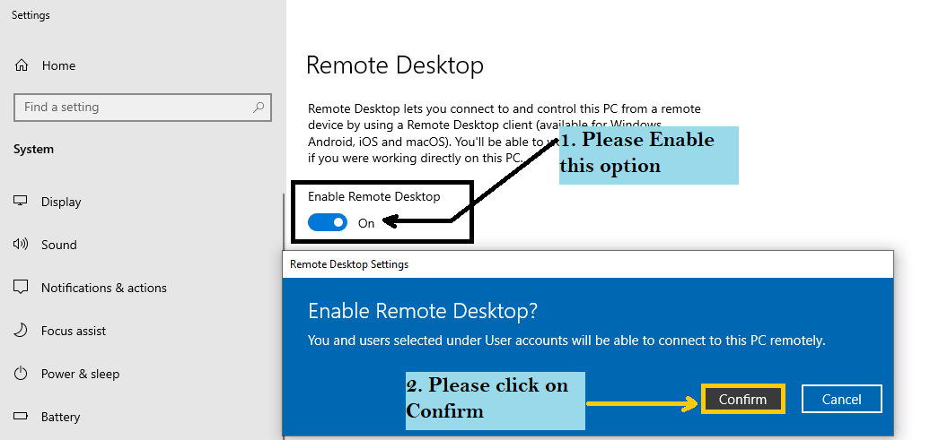 Enable Remote Desktop connection service