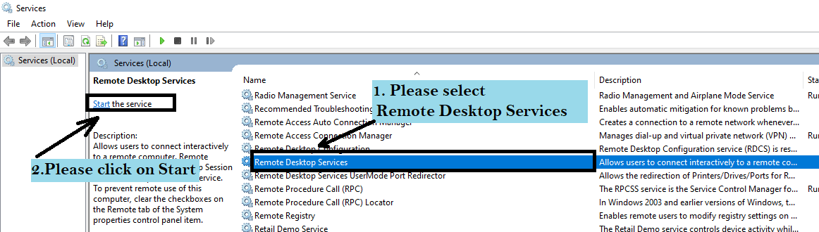 start Remote Desktop connection service