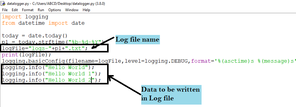 How to create log file in python