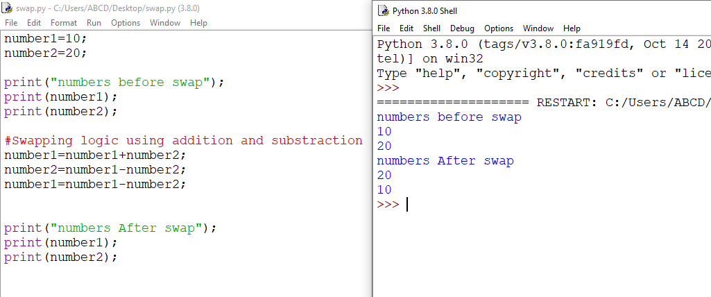 python swap two numbers using add and substract