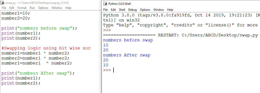python swap two numbers bitwise operator
