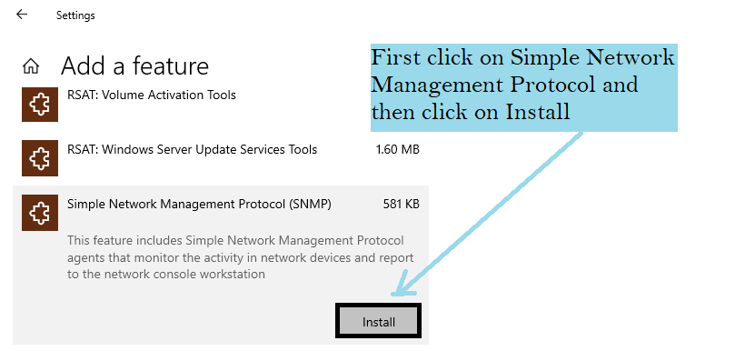 how to install snmp service on windows 10