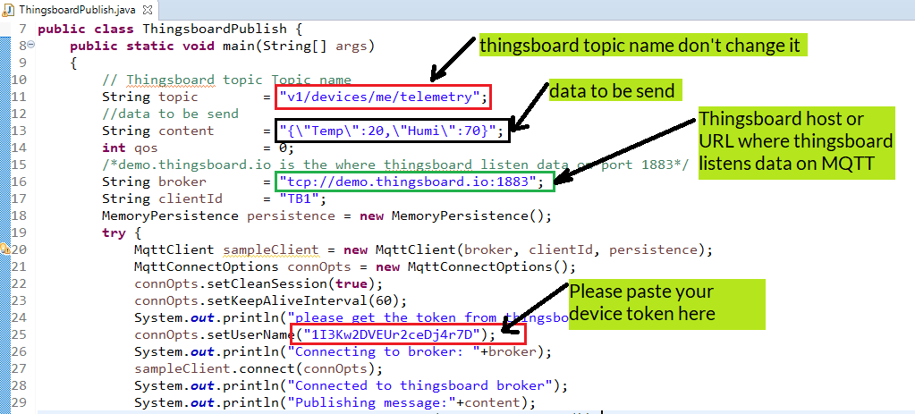 java code to send data to thingsboard