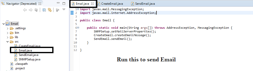 send email using java code in eclipse
