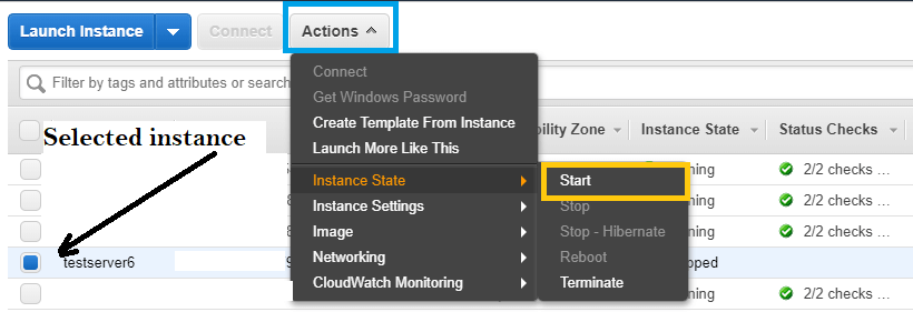 How to start EC2 instance