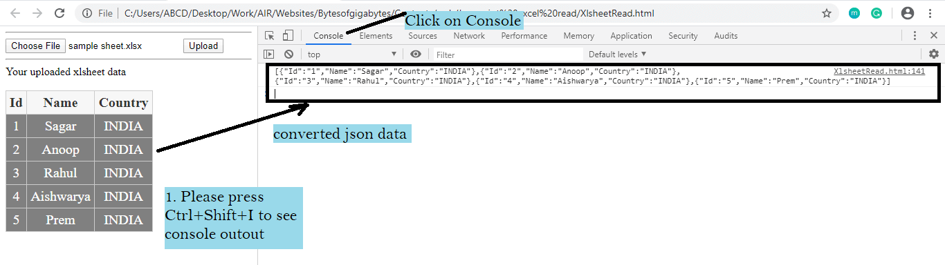 javascript convert excel to json